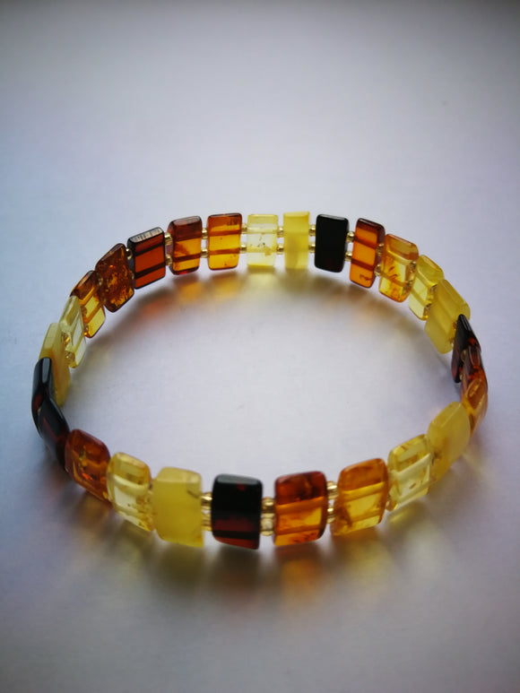 Baltic amber bracelet, rectangle beads with spacers, elastic bracelet, unisex - UAB Amber
