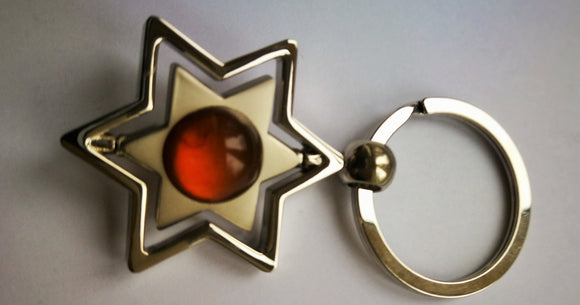Amber keychain, magen david,star keyholder ,round amber, hexagon symbol,  gift for him - UAB Amber