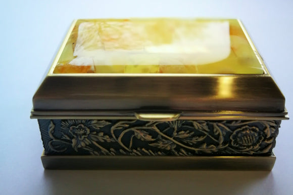 Natural amber mosaic box, jewelry box, untreated white amber, gift - UAB Amber