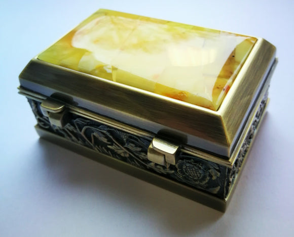 Mosaic box,amber jewelry box,unique gift box,box for rings,untreated white amber,jewelry box