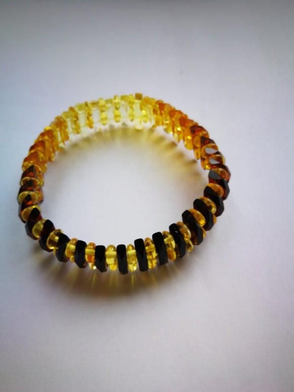 Amber bracelet,faceted amber,colored bracelet, yellow and cognac  amber,stretch bracelet,amber gift