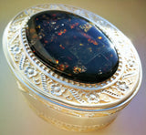 Jewelry oval box,  dark green amber, mosaic box,metal box,ring box, gift - UAB Amber