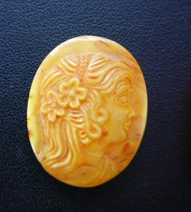 Orange amber cameo,vintage amber, woman's cameo,amber cabochon, royal amber,butterscotch amber,gift - UAB Amber