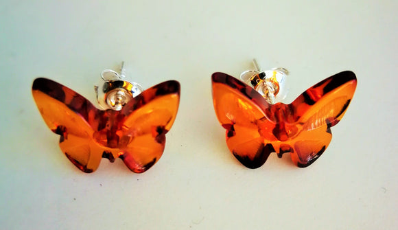 Amber earrings,butterfly,amber studs,gift,feng shui earrings - UAB Amber