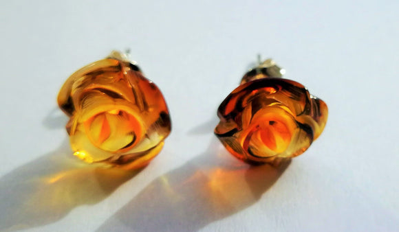 Genuine amber roses, cognac transparent color, carved silver earrings, silver stud,  elegant gift - UAB Amber