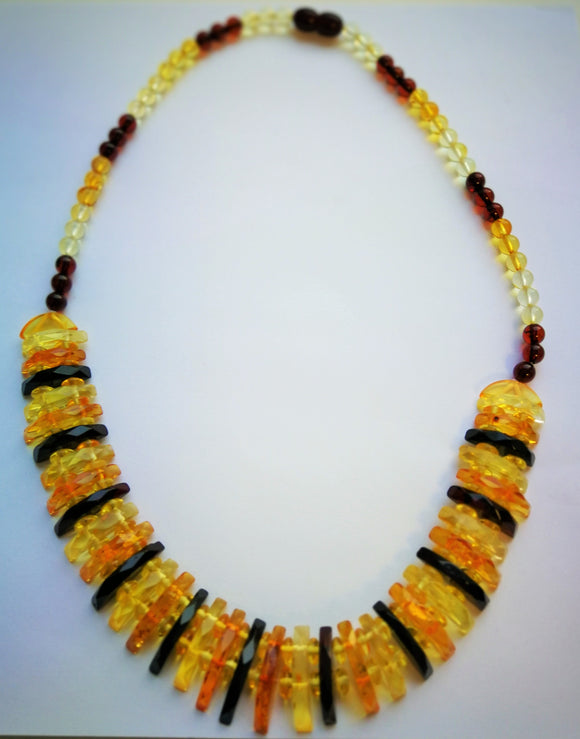Baltic amber Cleopatra necklace, flat faceted beads, classical amber colours, choker necklace, elegant gift