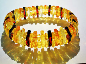 Shiny Baltic Amber bracelet,faceted tiny beads,natural amber, elegant, very lightweight - UAB Amber