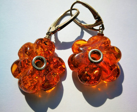 Amber earrings, flower earrings, hand carved vintage amber,daisy earrings, dangling amber earrings, silver earrings, gift for her