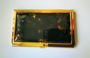 Business card holder,visit card box, black amber,amber mosaic, for women,for men - UAB Amber