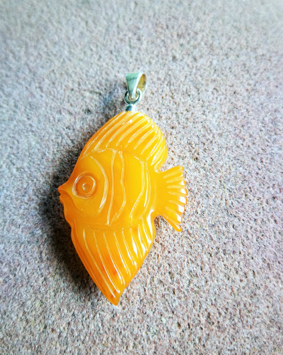 Orange amber fish pendant, hand carved vintage fish, natural  butterscotch amber, untreated  amber - UAB Amber