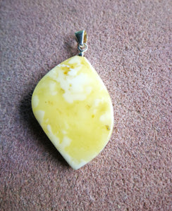 Royal Baltic amber pendant, leaf shape, genuine white and butterscotch amber, elegant gift - UAB Amber