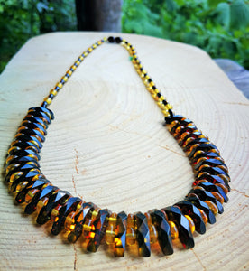 Green amber Cleopatra necklace, faceted beads, screw  amber clasp,elegant choker necklace, genuine gift - UAB Amber