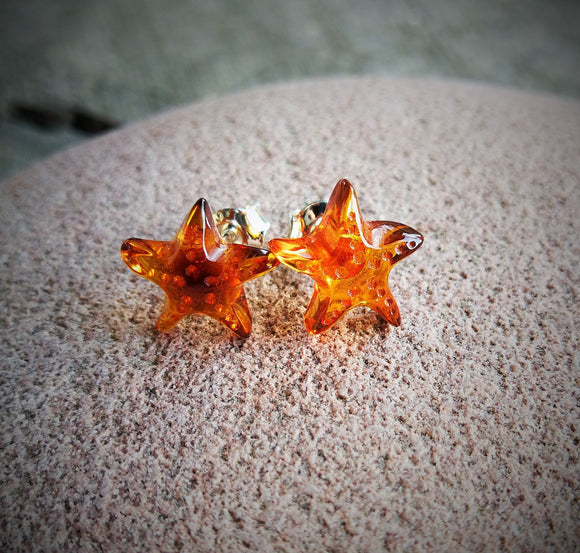 Star amber earrings, carved stars , silver stud, cognac amber,cute gift - UAB Amber
