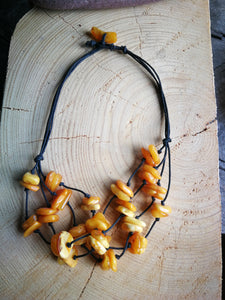 Untreated amber necklace, vintage necklace on rope, butterscotch 3 rows amber nuggets - UAB Amber