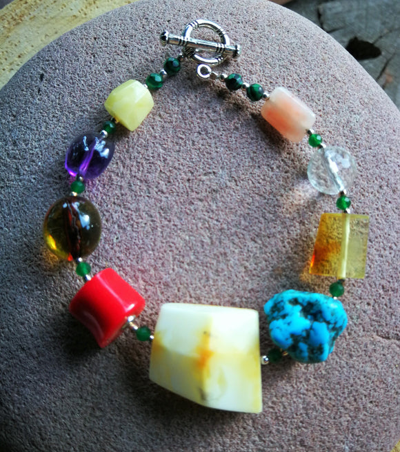 Colorful amber bracelet, gems bracelet, natural amber stones  and semi-precious beads - UAB Amber