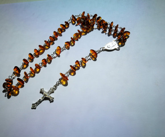 Amber rosary, catholic prayer beads, simple chip amber beads, natural amber, religious gift - UAB Amber
