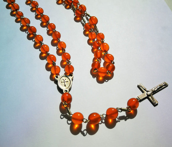 Amber rosary, catholic rosary, olive baroque amber beads, natural transparent amber - UAB Amber