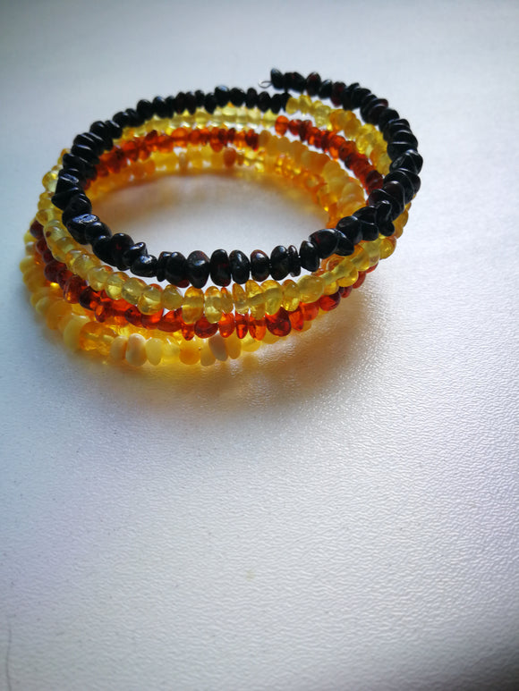 Natural  amber bracelet, multi color amber, 5 rows, metal wire, authentic amber, gift - UAB Amber