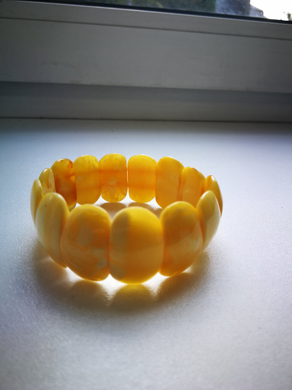 Royal amber bracelet, butterscotch  genuine amber, handmade, untreated yellow amber,unique gift - UAB Amber