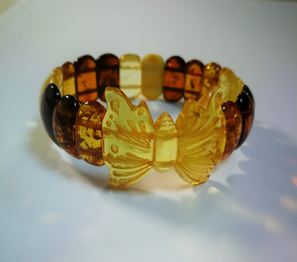 Butterfly amber bracelet, handmade butterfly figurine, rectangular beads,exclusive  gift for her - UAB Amber