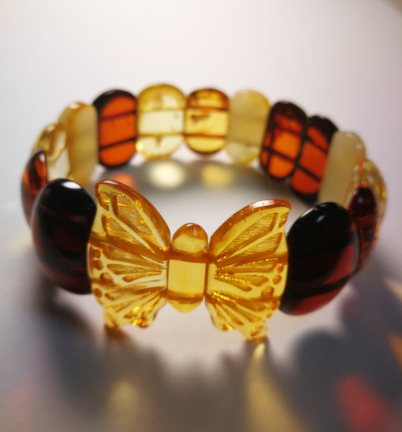 Exclusive butterfly bracelet, Baltic amber handmade bracelet, rectangular oval beads,romantic gift