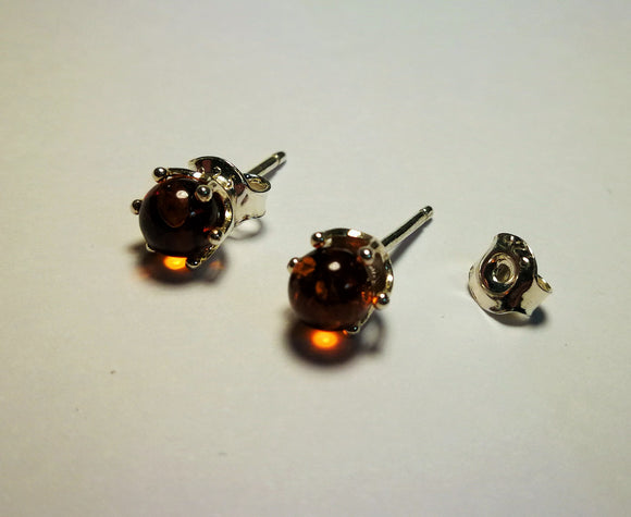 Amber earrings,amber studs,silver studs,cognac earrings,tiny earrings,urban earrings - UAB Amber