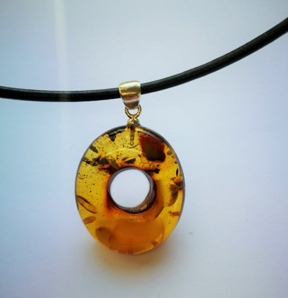 Oval untreated amber pendant, green amber, flora inclusions,donut amulet, for collectionists - UAB Amber