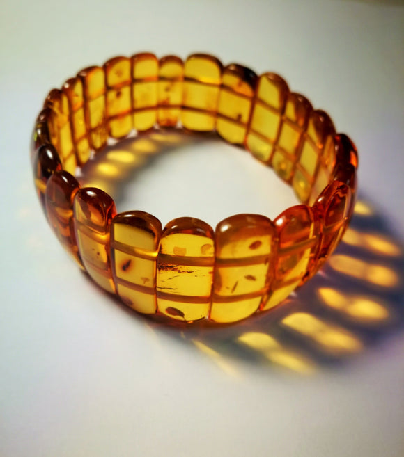 Classical amber bracelet, lady's elastic amber bracelet, inclusions, gift for her - UAB Amber