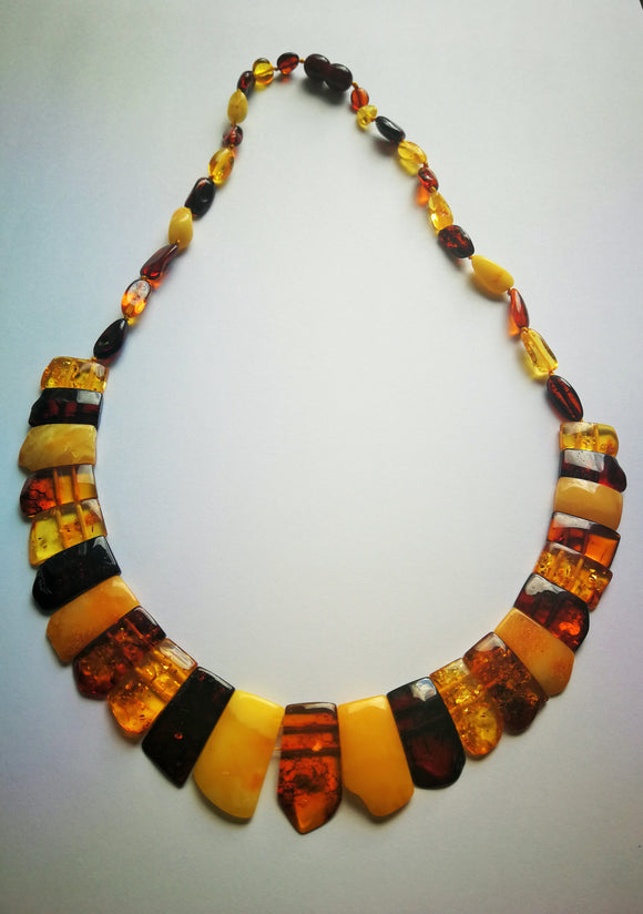 Cleopatra  amber necklace, natural untreated amber, choker necklace,  healing amber necklace - UAB Amber