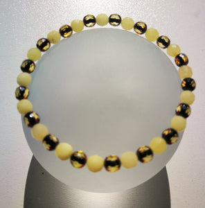 Genuine baltic bracelet, faceted round 5 mm.beads, butterscotch and green amber, elegant gift - UAB Amber