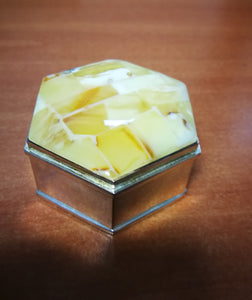 White amber small box, jewelry hexagonal box, handmade amber mosaic, butterscotch amber - UAB Amber