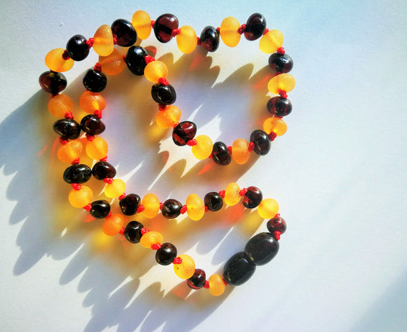 Unpolished amber teething necklace, 2 color baroque amber beads, natural Baltic amber, hand knotted - UAB Amber