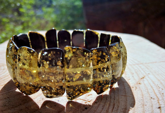 Gorgeous green bracelet, natural Baltic amber bracelet, classical rectangular beads, elastic - UAB Amber