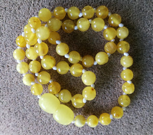 Butterscotch amber teething necklace, natural amber  round beads, healing necklace,hand knotted, - UAB Amber