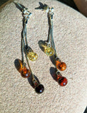 Round colourful amber earrings, dangling silver chains, studs,  6 mm. , elegant gift - UAB Amber