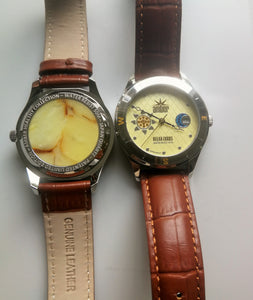 "Watches ""Amber Relax Luxus"", Baltic amber plate , Miyota movement, gift for her,  كهرب# - UAB Amber"