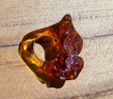 Hand carved amber ring, baltic amber pendant , natural one piece amber, original  gift - UAB Amber