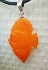 Orange amber fish pendant, hand carved vintage fish,  butterscotch amber,كهرمان , #كهرب# - UAB Amber