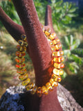 Honey transparent amber bracelet, round button shape 10 mm beads, rare untreated amber, unisex
