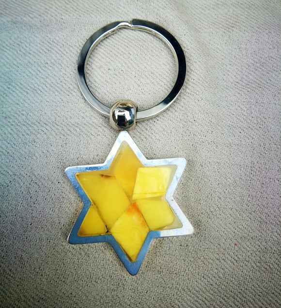 David star key-holder ,white amber key-chain, hand made amber mosaic, Star of David