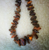 Large rustic amber necklace,raw amber nuggets, screw clasp, astma amber