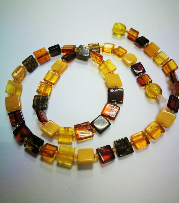Simple amber necklace,square amber beads,yellow amber cherry amber,amber gift
