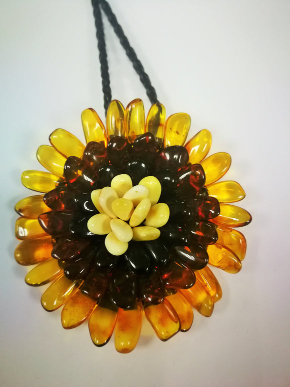 Amber flower, handmade amber brooch, three colored flower necklace , two in one