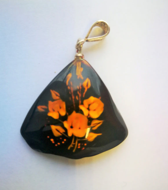 Engraved amber pendant, hand carved roses pendant, silver bail,  rare amber pendant.