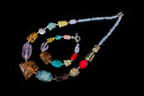 Gorgeous necklace, natural amber and gems, colourful jewellery, exclusive gift - UAB Amber