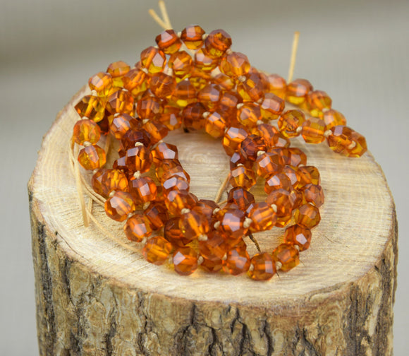 Amber mala,108 mala,cognac faceted amber,yoga necklace,japa mala,amber necklace, prayer beads - UAB Amber
