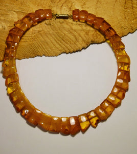 Baltic amber choker,statement necklace,unpolished amber,natural amber, vintage necklace,amber gift - UAB Amber