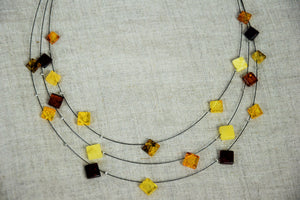 Amber necklace,wire necklace,square amber ,multi layer necklace,white amber,butterscotch amber,gift - UAB Amber