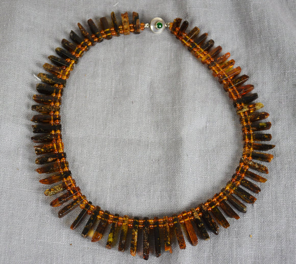 Amber statement necklace,natural amber, untreated amber,Cleopatra necklace - UAB Amber