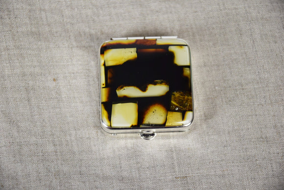 Pill organizer case, natural amber mosaic, vitamin box,  pocket mirror, gift - UAB Amber